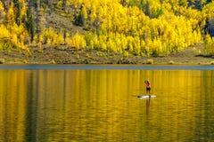 Nedgång i Steamboat Springs Colorado fotografering för bildbyråer