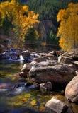 Nedgång på gömstället Lapoudre Colorado arkivfoto