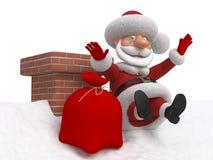 nedgångar för 3d Santa Claus från ett tak Royaltyfria Bilder
