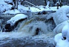 Nedgångar i vintern. Royaltyfri Foto