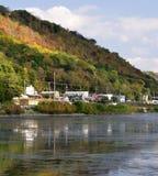 Nedgångeftermiddag längs Mississippiet River i Wisconsin arkivfoto