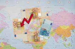 Nedgången av euroet Arkivbild