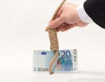 Nedgången av euroet royaltyfria foton