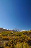 Nedgången berget till den Hunza dalen, nordligt härligt berg på Phandar sjön, nordliga Pakistan Fotografering för Bildbyråer