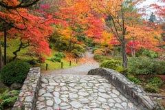 Nedgångfärglandskap med stenbron och gåbanan Arkivfoto