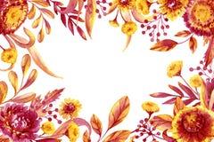Nedgånglövverk och blommaram Royaltyfria Foton
