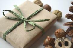 Nedgånglynne Ekollonar, trädmuttrar och frö med en sörjakotte och en i presentpapper ask i brunt papper och bast med kopieringsut Royaltyfri Fotografi