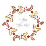 Nedgångvektortappning Hello Autumn Wreath Illustration Fotografering för Bildbyråer