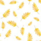NedgångVibes Sömlös modell för vattenfärg av det gula bladet för tryck stock illustrationer