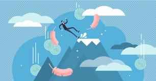 Nedg?ngvektorillustration Mycket litet ekonomiskt begrepp för affärskuggningpersoner arkivbild