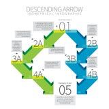 Nedgående pil Infographic Royaltyfri Foto