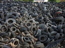 nedgrävning av soporgummihjul Arkivfoton