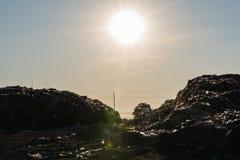 Nedgrävning av soporplats, giftlig avfalls Royaltyfria Foton