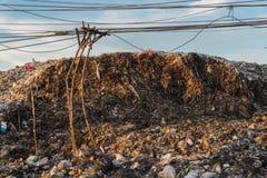 Nedgrävning av soporplats, nedgrävning av soporavfalls i Thailand Arkivbilder