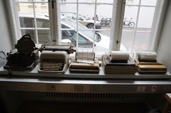 NEDIA OLDS WORKING MACHINES. Copenhagen/Denmark 16..March.2018_ .Tele and type writer media old working instsruments and machines display at Copenhagen Press stock images