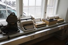 NEDIA OLDS WORKING MACHINES. Copenhagen/Denmark 16..March.2018_ .Tele and type writer media old working instsruments and machines display at Copenhagen Press royalty free stock photo