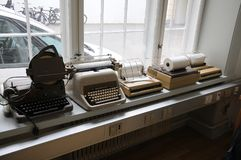 NEDIA OLDS WORKING MACHINES. Copenhagen/Denmark 16..March.2018_ .Tele and type writer media old working instsruments and machines display at Copenhagen Press royalty free stock images