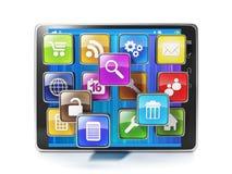 Nedladda mobilen app för din aypad. Symboler i form av mobil Royaltyfri Bild