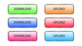 Nedladda och upload knappar Arkivbilder
