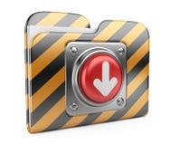 Nedladdningmapp med knappen. isolerad symbol 3D Fotografering för Bildbyråer