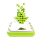 Nedladdningsymbol som grön pil över knappen Fotografering för Bildbyråer