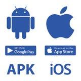 Nedladdningsymboler Android Apple