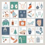 Nedräkning Advent Calendar eller affisch vektor illustrationer