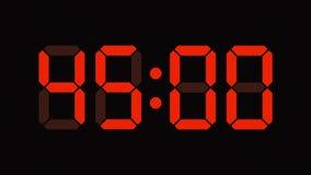 Nedräkning för Digital klocka från sextio till nummer för noll - full HD LEDD skärm - apelsin arkivfilmer
