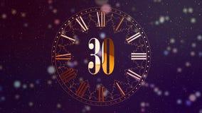 Nedräkning 2019 för nytt år 2D animering som räknar minuter på en klocka Roterande klocka Magentafärgad färg Magisk animering för lager videofilmer