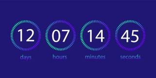 Nedräkningklocka Funktionskort av dagen, timme, minut, i andra hand Användargränssnitt royaltyfri illustrationer