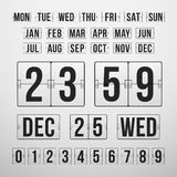 Nedräkningtidmätare och datum, kalenderfunktionskort royaltyfri illustrationer