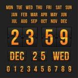 Nedräkningtidmätare och datum, kalenderfunktionskort stock illustrationer