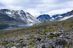 Nedre Steinbuvatnet See im Nationalpark Jotunheimen lizenzfreie stockbilder