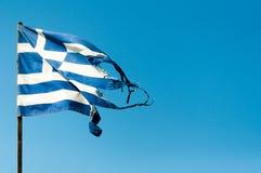 NedskärningGrekland flagga Arkivbilder