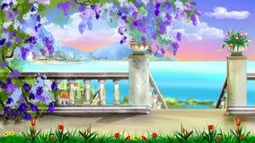 Nedstigning till havet från parkera stock illustrationer