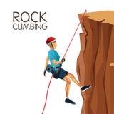 Nedstigningen för berget för platsmannen med utrustning vaggar klättring royaltyfri illustrationer