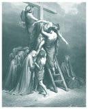 Nedstigningen från den arga illustrationen Arkivbild