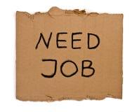 Need. Job remark on piece of cardboard isolated Stock Image
