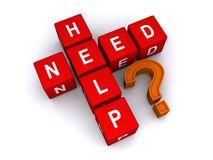 Need help. A concept image with 'Need help?' text formed from letter blocks stock photos