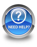 Need help (question icon) glossy blue round button Royalty Free Stock Image