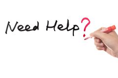 Need help?. Need help question written on white board Royalty Free Stock Photography