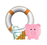 Need help with savings concept. Illustration design over a white background Royalty Free Stock Image