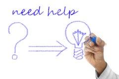 Need Help word written on wipe board. Need Help word written on transparent wipe board Royalty Free Stock Image