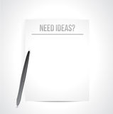 Need ideas written on a white paper. illustration. Design over white Royalty Free Stock Images