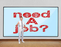 Need a job concept. Businessman showing thumb up and screen with need a job Stock Photography