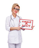 Need a job. Female doctor holding cloipboard with drawing need a job Stock Images