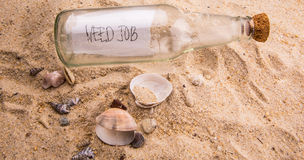 Need Job Message In A Bottle I Royalty Free Stock Photography