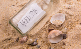 Need Job Message In A Bottle II. Concept image of a message NEED JOB in a bottle Royalty Free Stock Images