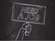Need Job Sketch on Blackboard Royalty Free Stock Photo