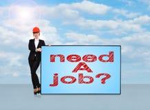 Need a job. Woman engineer holding big plasma panel with need a job Royalty Free Stock Photo